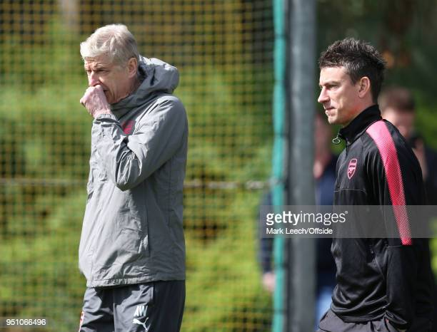 Manager Arsene Wenger and Laurent Koscielny during Arsenal Training at London Colney on April 25 2018 in St Albans England