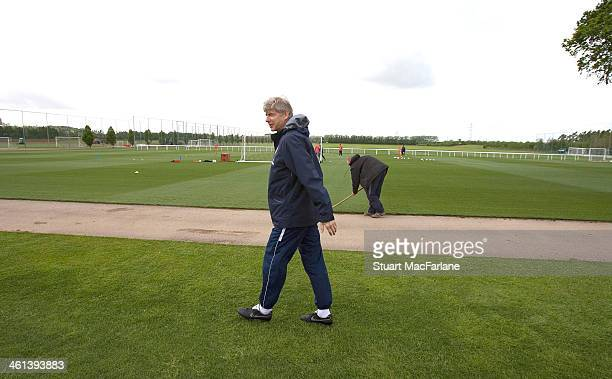 Manager Arsene Wenger at the Arsenal training ground at London Colney on May 10 2007 in St Albans England