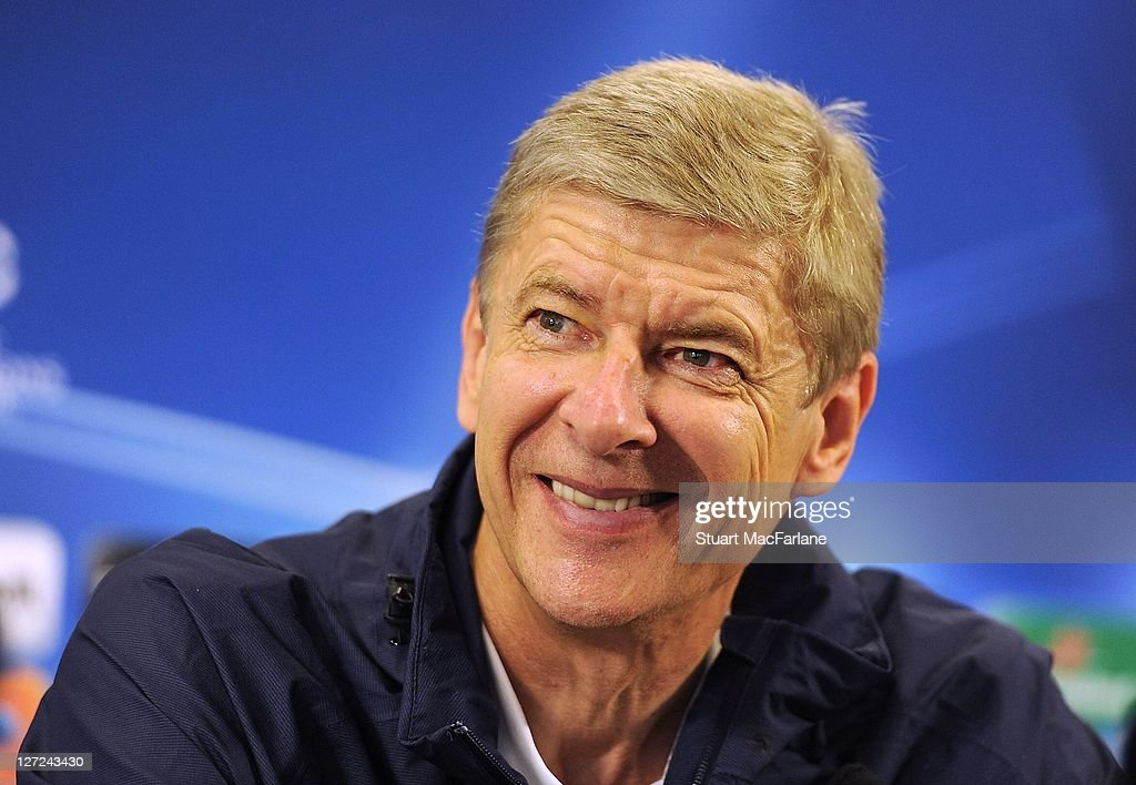 Manager Arsene Wenger attends a press conference ahead of their UEFA Champions League Group stage match against Olympiacos FC at London Colney on September 27, 2011 in St Albans, England.