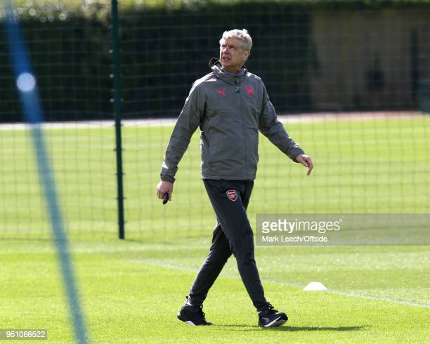 Manager Arsene Wenger during Arsenal Training at London Colney on April 25 2018 in St Albans England