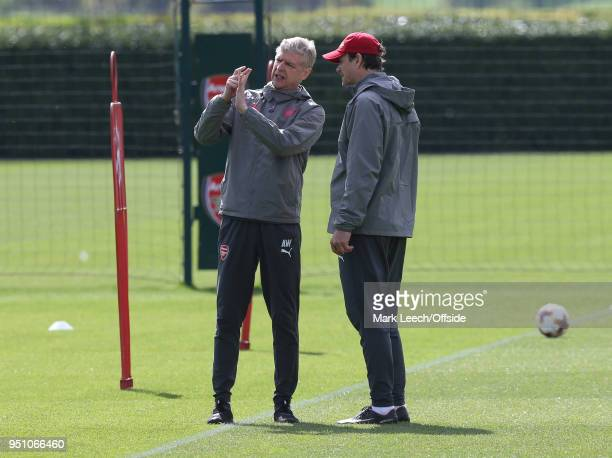 Manager Arsene Wenger in discussion with Jens Lehmann during Arsenal Training at London Colney on April 25 2018 in St Albans England