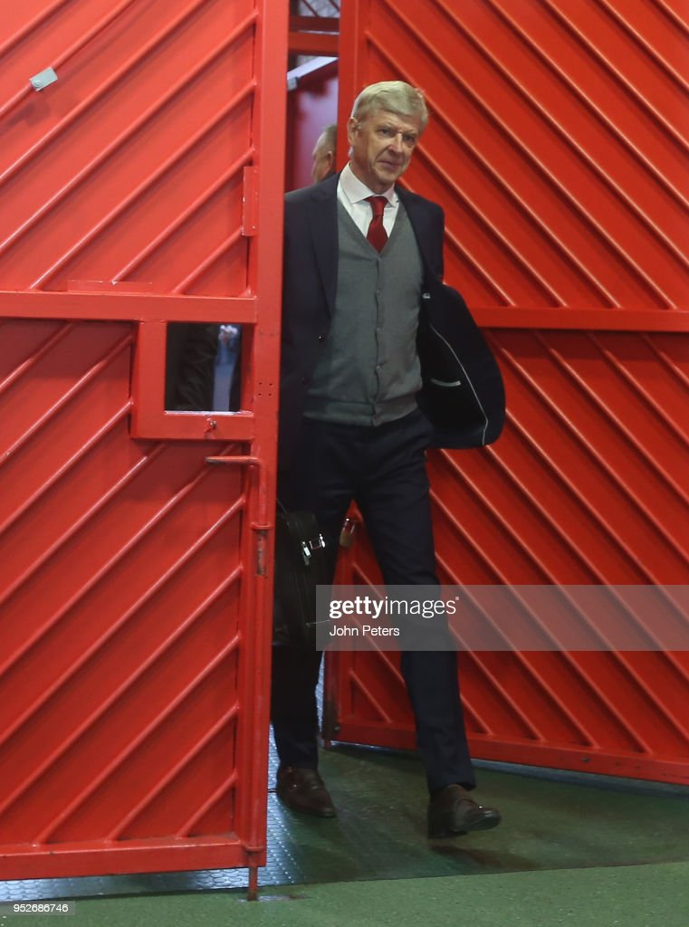 Manager Arsene Wenger of Arsenal arrives ahead of the Premier League match between Manchester United and Arsenal at Old Trafford on April 29, 2018 in Manchester, England.