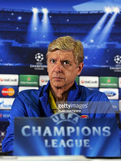 Manager Arsene Wenger of Arsenal attends a press conference at Stade Velodrome on September 17 2013 in Marseille