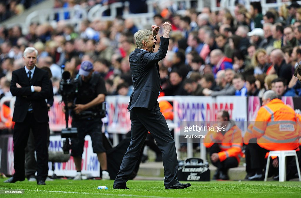 Manager Arsene Wenger of Arsenal celebrates at the final whistle during the Barclays Premier League match between Newcastle United and Arsenal at St James' Park on May 19, 2013 in Newcastle upon Tyne, England.