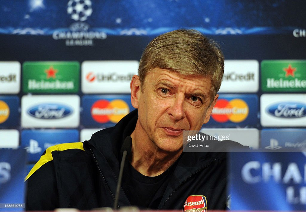 Manager Arsene Wenger of Arsenal during a Press Conference ahead of their UEFA Champions League Round of 16 match against Bayern Munich at Allianz Arena on March 12, 2013 in Munich, Germany.