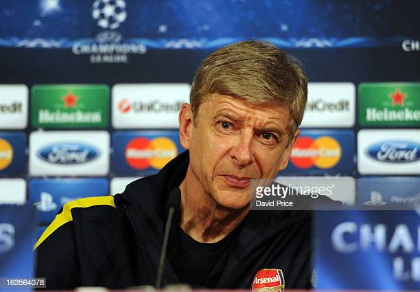 Manager Arsene Wenger of Arsenal during a Press Conference ahead of their UEFA Champions League Round of 16 match against Bayern Munich at Allianz...