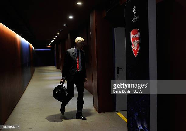Manager Arsene Wenger of Arsenal FC arrives at his team's dressing room ahead of the UEFA Champions League Round of 16 second leg match between FC...