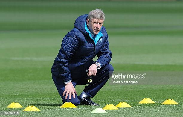 Manager Arsene Wenger of Arsenal looks on during a training session at London Colney on April 20, 2012 in St Albans, England.