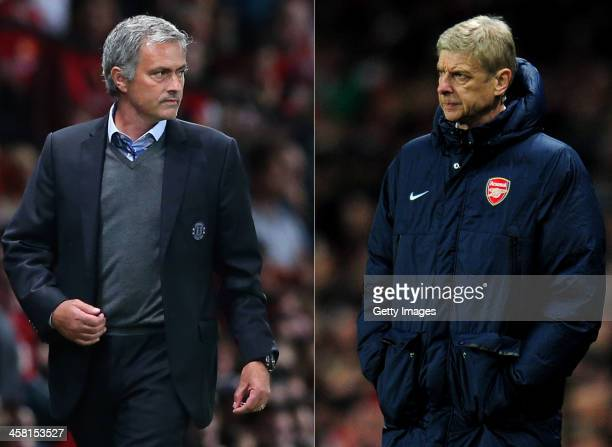 COMPOSITE OF TWO IMAGES Image Numbers 177996036 and 452339145 In this composite image a comparison has been made between Chelsea Manager Jose...