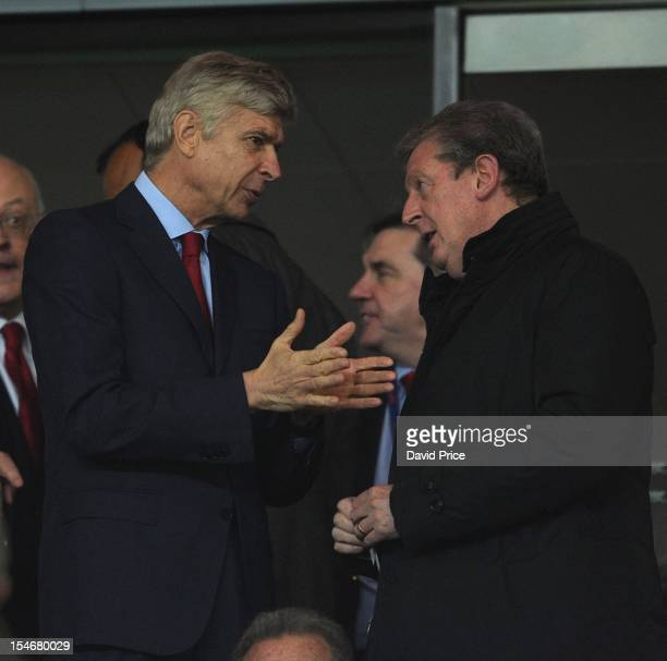 Manager Arsene Wenger of Arsenal talks with manager Roy Hodgson of England before the UEFA Champions League Group B match between Arsenal FC and FC...