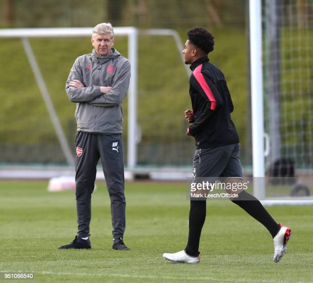 Manager Arsene Wenger welcomes Reiss Nelson during Arsenal Training at London Colney on April 25 2018 in St Albans England