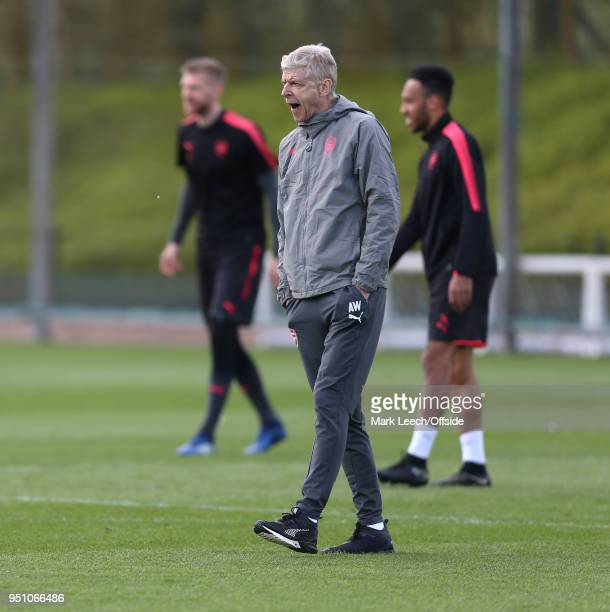 Manager Arsene Wenger yawning during Arsenal Training at London Colney on April 25 2018 in St Albans England