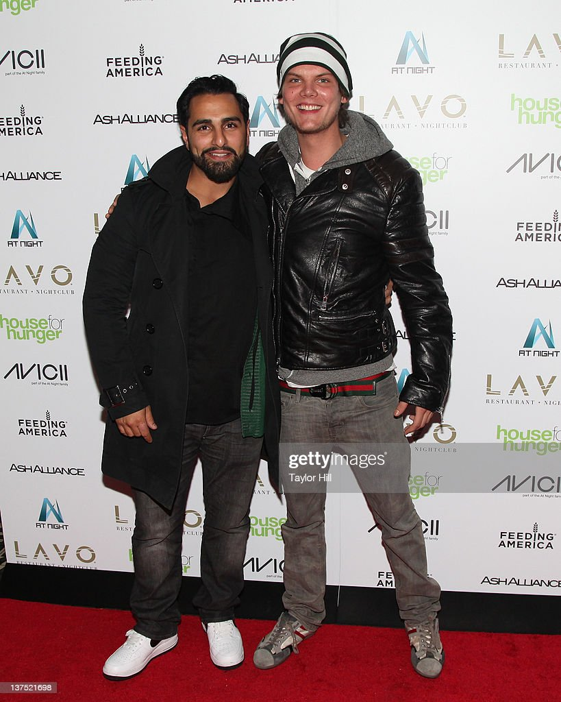Manager Ash Pournouri and DJ/producer Avicii attend their Feeding America benefit at LAVO on January 21, 2012 in New York City.