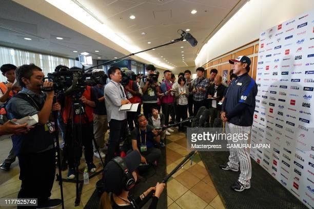 Manager Atsunori Inaba of Japan speaks during a Samurai Japan training session on October 22 2019 in Miyazaki Japan