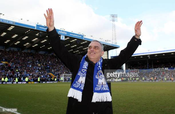 Manager Avram Grant of Portsmouth celebrates win after the FA Cup sponsored by EON 6th Round match between Portsmouth and Birmingham City at Fratton...