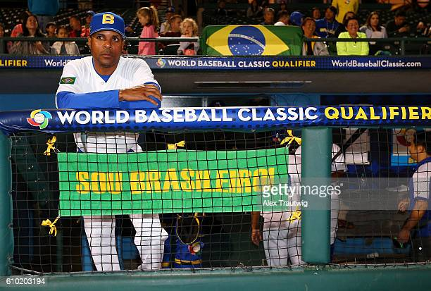Manager Barry Larkin of Team Brazil looks on from the dugout prior to Game 5 of the 2016 World Baseball Classic Qualifier at MCU Park on Saturday...