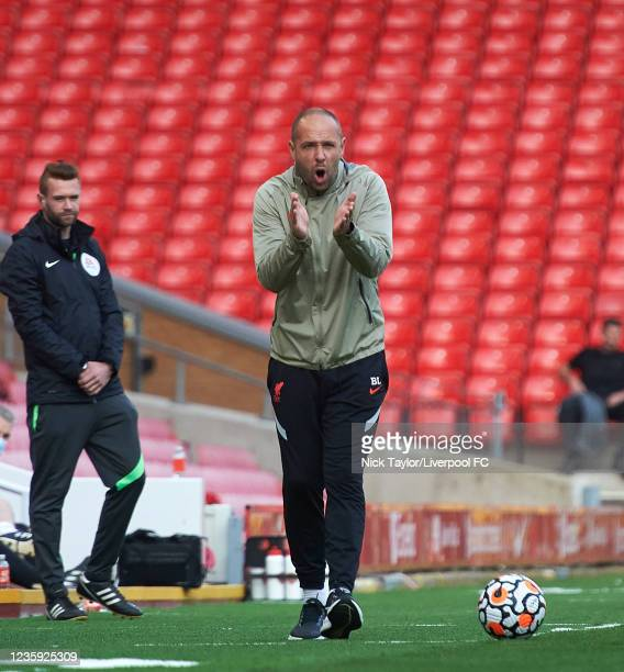 Manager Barry Lewtas of Liverpool during the PL2 game at Anfield on October 16, 2021 in Liverpool, England.