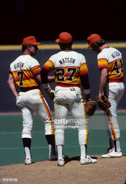 Manager Bill Virdon of the Houston Astros conferences on the mound with first baseman Bob Watson and pitcher Gary Wilson during a game in May 1979...