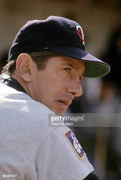 Manager Billy Martin of the Minnesota Twins watching the action from the dougout during a MLB baseball game circa 1969 Martin managed the Twins in...