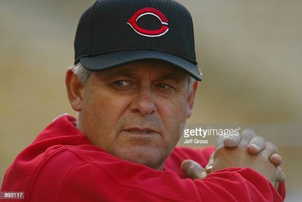 Manager Bob Boone of the Cincinnati Reds watches batting practice before the MLB game against the Los Angeles Dodgers on April 30 2002 at Dodger...