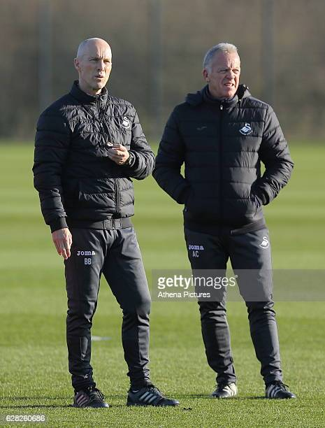 Manager Bob Bradley with First Team Coach Alan Curtis during the Swansea City Training at The Fairwood Training Ground on December 7 2016 in Swansea...