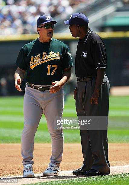 Manager Bob Geren of the Oakland Athletics argues with first base umpire Chuck Meriwether during a game against the Chicago White Sox on July 6 2008...