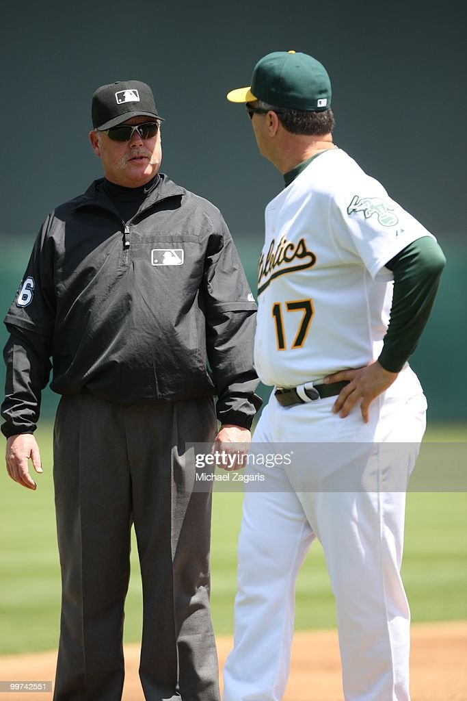 Manager Bob Geren #17 of the Oakland Athletics arguing with umpire Jim Joyce during the game against the Tampa Bay Rays at the Oakland Coliseum on May 8, 2010 in Oakland, California. The Athletics defeated the Rays 4-2.