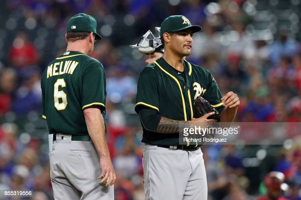 Manager Bob Melvin of the Oakland Athletics relieves Sean Manaea of the Oakland Athletics in the seventh inning of a baseball game against the Texas...
