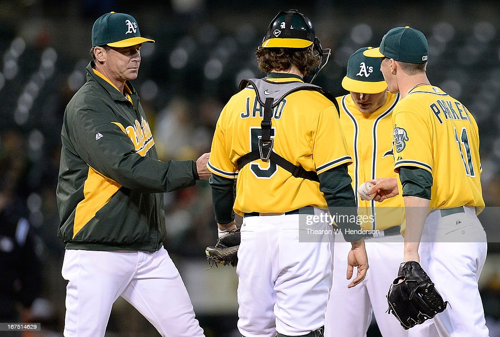 Manager Bob Melvin (L) of the Oakland Athletics takes pitcher Jarrod Parker #11 out of the game against the Baltimore Orioles in the fifth inning at O.co Coliseum on April 25, 2013 in Oakland, California.