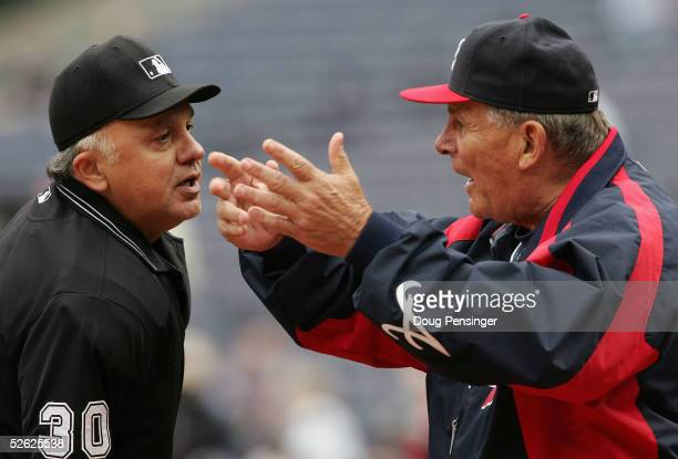 Manager Bobby Cox of the Atlanta Braves argues with home plate umpire Randy Marsh at Turner Field on April 13, 2005 in Atlanta, Georgia. Cox was...