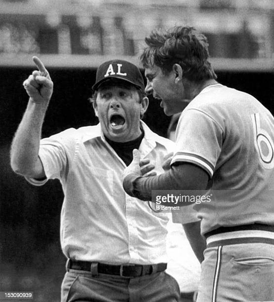 Manager Bobby Cox of the Toronto Blue Jays argues a call with umpire Dave Phillips during the game against the Chicago White Sox on July 17 1983 at...