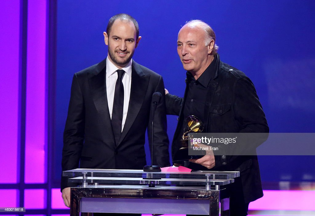 Manager Booby Campbell (L) and TV producer Danny Bennett speak onstage during The 57th Annual GRAMMY Awards premiere ceremony at STAPLES Center on February 8, 2015 in Los Angeles, California.