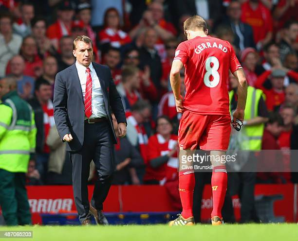 Manager Brendan Rodgers of Liverpool looks to a dejected Steven Gerrard of Liverpool at the end of the match during the Barclays Premier League match...