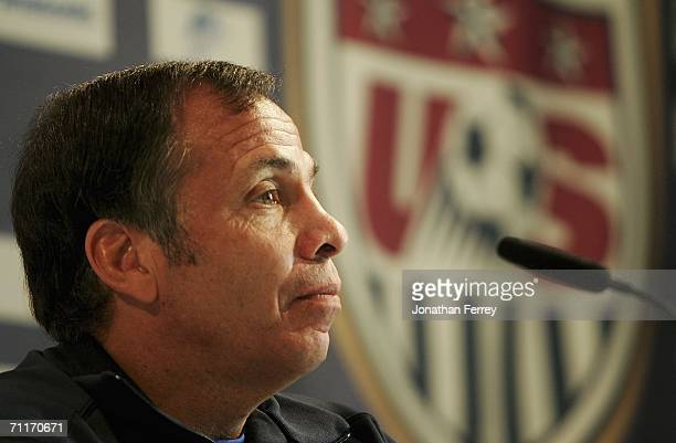 Manager Bruce Arena listens during a press conference for the United States National Team at on June 10 2006 at Park Hyatt Hotel in Hamburg Germany
