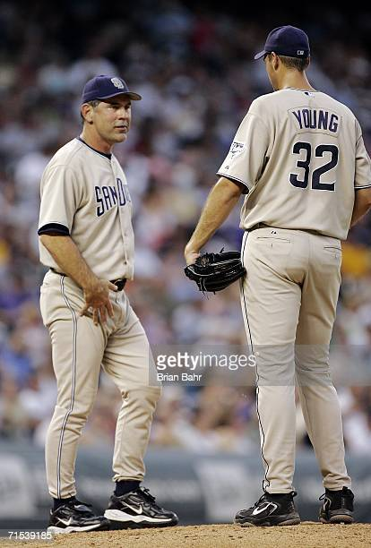 Manager Bruce Bochy of the San Diego Padres pulls starting pitcher Chris Young in the 6th inning against the Colorado Rockies on July 29 2006 at...