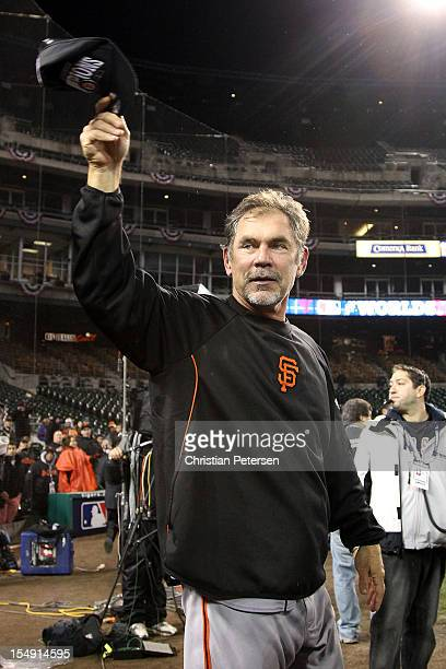 Manager Bruce Bochy of the San Francisco Giants celebrates after defeating the Detroit Tigers to win Game Four of the Major League Baseball World...