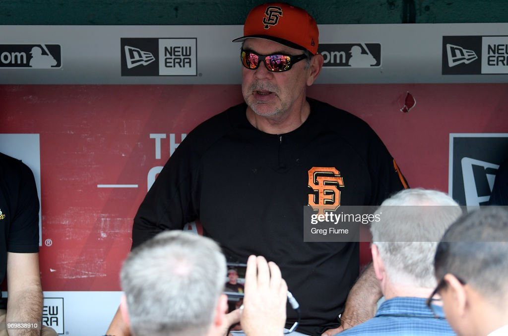 Manager Bruce Bochy #15 of the San Francisco Giants talks to the media before the game against the Washington Nationals at Nationals Park on June 8, 2018 in Washington, DC.