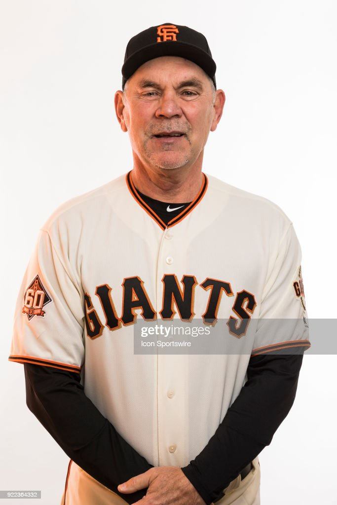 Manager Bruce Bochy (15) poses for a photo during the San Francisco Giants photo day on Tuesday, Feb. 20, 2018 at Scottsdale Stadium in Scottsdale, Ariz.