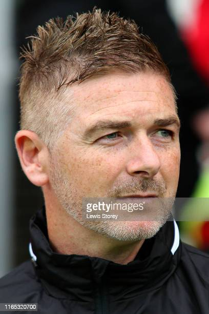Manager Bryan Hughes of Wrexham during the PreSeason Friendly match between Wrexham and Stoke City at Racecourse Ground on July 17 2019 in Wrexham...