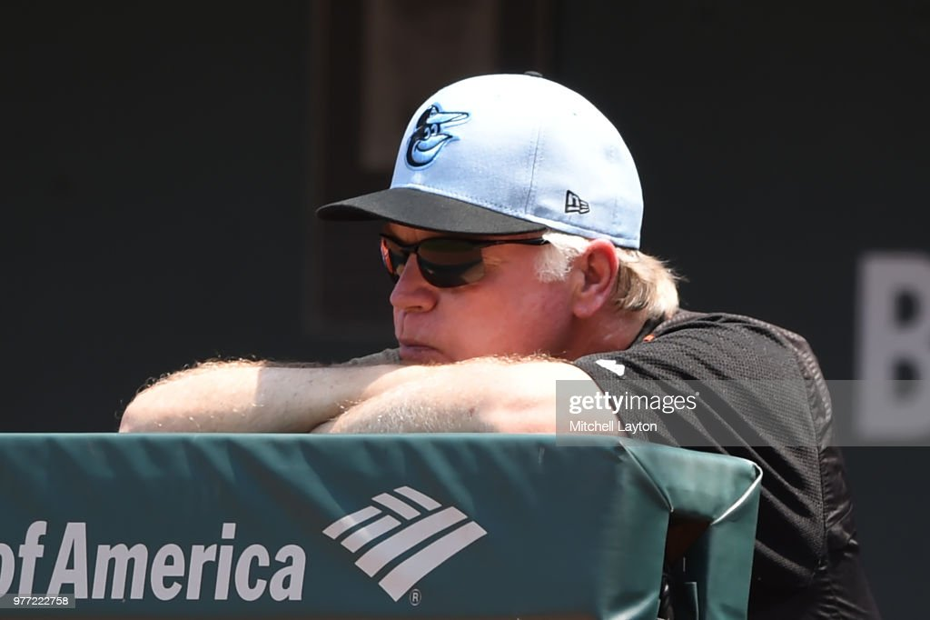 Manager Buck Showalter #26 of the Baltimore Orioles looks on during a baseball game against the Miami Marlins at Oriole Park at Camden Yards on June 17, 2018 in Baltimore, Maryland.