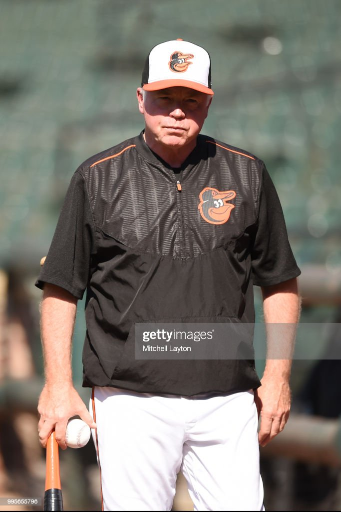 Manager Buck Showalter #26 of the Baltimore Orioles looks on during batting practice of a baseball game against the New York Yankees at Oriole Park at Camden Yards on July 10, 2018 in Baltimore, Maryland.