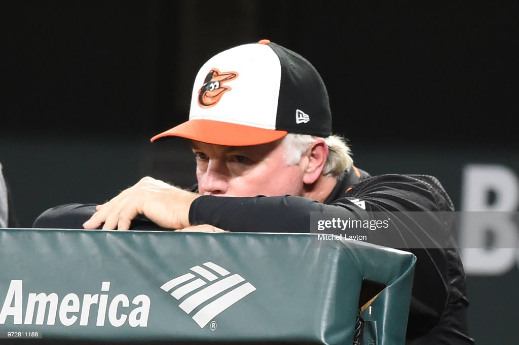 Manager Buck Showalter #26 of the Baltimore Orioles looks on form the dug out during a baseball game against the Boston Red Sox at Oriole Park at Camden Yards on June 12, 2018 in Baltimore, Maryland.
