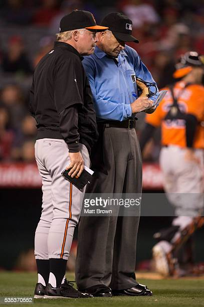 Manager Buck Showalter of the Baltimore Orioles talks to umpire Dale Scott during the game against the Los Angeles Angels of Anaheim at Angel Stadium...