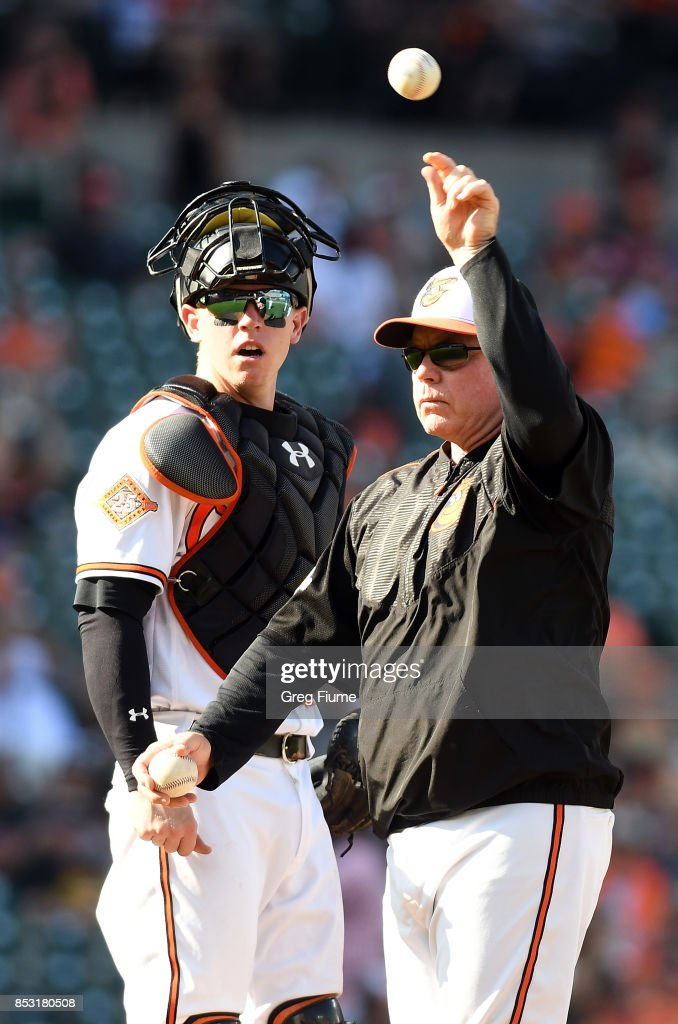 Manager Buck Showalter #26 of the Baltimore Orioles throws a baseball into the dugout during a pitching change in the seventh inning against the Tampa Bay Rays at Oriole Park at Camden Yards on September 24, 2017 in Baltimore, Maryland.