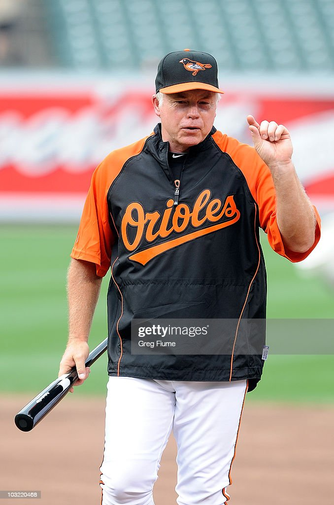 Manager Buck Showalter of the Baltimore Orioles watches batting practice before the game against the Los Angeles Angels of Anaheim at Camden Yards on August 3, 2010 in Baltimore, Maryland.