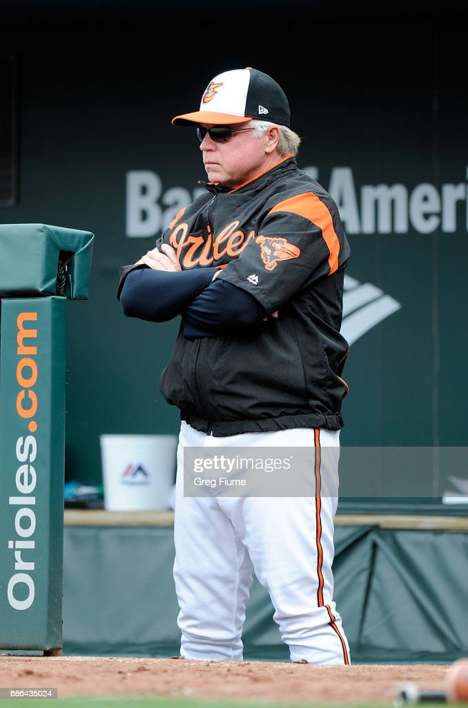 Manager Buck Showalter #26 of the Baltimore Orioles watches the game in the ninth inning against the Toronto Blue Jays at Oriole Park at Camden Yards on May 21, 2017 in Baltimore, Maryland.