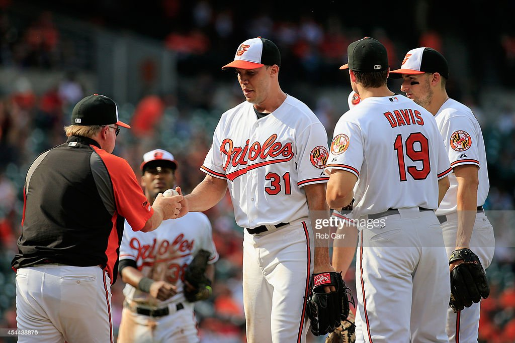 Manager Buck Showalter removes pitcher Ubaldo Jimenez #31 of the Baltimore Orioles from the game during the ninth inning of the Orioles 12-8 win over the Minnesota Twins at Oriole Park at Camden Yards on August 31, 2014 in Baltimore, Maryland.