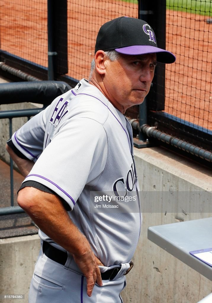 Manager Bud Black #10 of the Colorado Rockies looks on against the New York Mets on July 16, 2017 at Citi Field in the Flushing neighborhood of the Queens borough of New York City. The Rockies defeated the Mets 13-4.