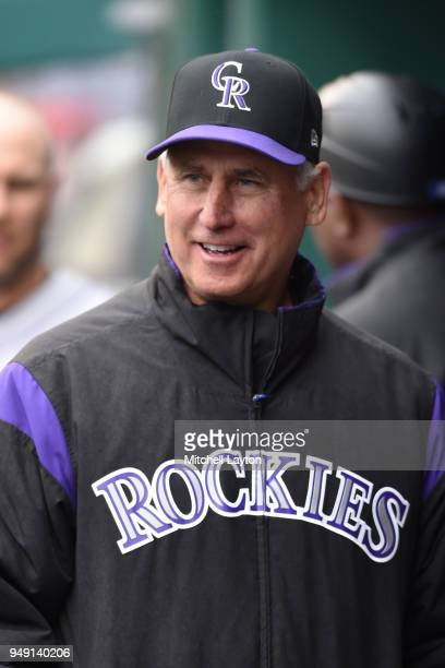 Manager Bud Black of the Colorado Rockies looks on before a baseball game against the Washington Nationals at Nationals Park on April 15 2018 in...