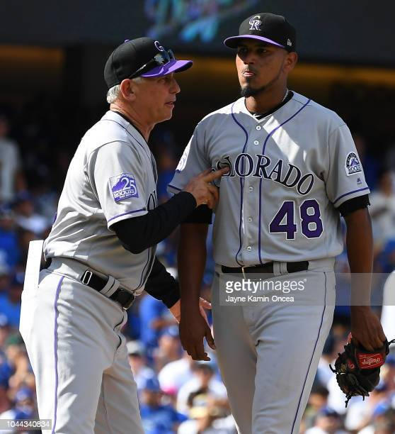 Manager Bud Black pulls starting pitcher German Marquez of the Colorado Rockies in the sixth inning of the game against the Los Angeles Dodgers at...